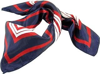 Lady Dark Blue Red White Stripe Print Kerchief Square Neck Scarf Wrap