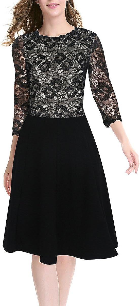 AnKoee Ladies Lace Round Collar Dresses Prom Slim Dress