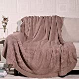 Amélie Home Soft Cozy Chunky Knit Throw Blankets with Ruffled Fringe, Breathable Waffle Weave Knit Blanket for Couch Sofa Bed (Misty Rose, 50 x 60'')
