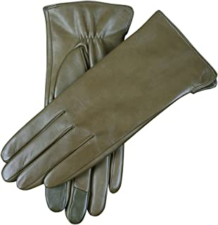 Women Touchscreen Texting Nappa Leather Glove Winter Warm Plain Cashmere & Wool Blend Lined Gloves