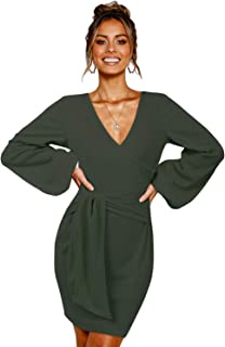 SOLERSUN Women's Casual Wrap Long Sleeve Elegant Bodycon Tie Waist Sweater Pencil Dresses