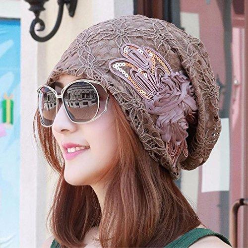 XINQING-mz Sombrero, Verano, Arco, Bufanda, Sombrero, Cordones, Huecos, Sombreros de Las Mujeres, acondicionadores de Aire y a Prueba de Polvo de Sombreros de Las Mujeres,Brown