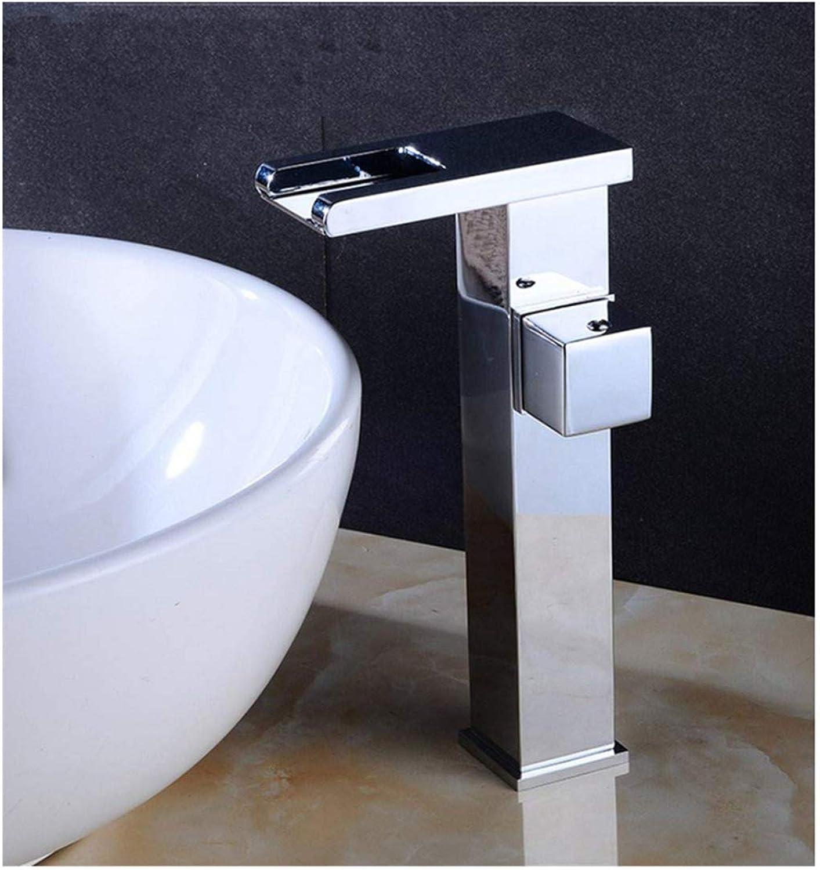 Chrome-Plated Adjustable Temperature-Sensitive Led Faucetfaucet Basin Single Hole Single Cold Table Basin Sifang Waterfall Led color Temperature Control Copper Creative Hot and Cold
