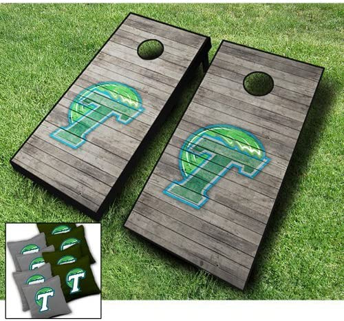 Tulane Green Spring new Large special price !! work one after another Wave Distressed Themed Cornhole Bea Wraps Board Set