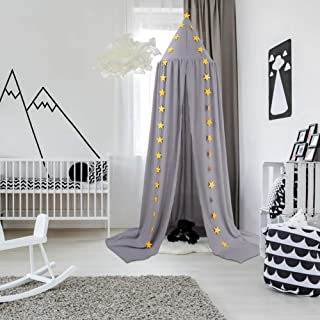 Ceekii Canopy for Girls Bed, Round Dome Hook Cotton Princess Mosquito Net Canopy Kids Bedroom Games Reading Tent Nursery Play Room Decor (Light Gray)