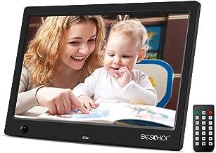 Beschoi 10 inch Digital Photo Frame HD LED Picture Videos Frame with Motion Sensor, MP3/Calendar/Clock