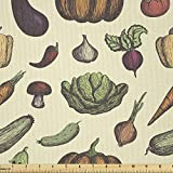 Ambesonne Vegetable Art Fabric by The Yard, Hand Drawn Vegan Pattern Mushroom Radish and Pumpkin on Cream Background, Microfiber Fabric for Arts and Crafts Textiles & Decor, 1 Yard, Multicolor