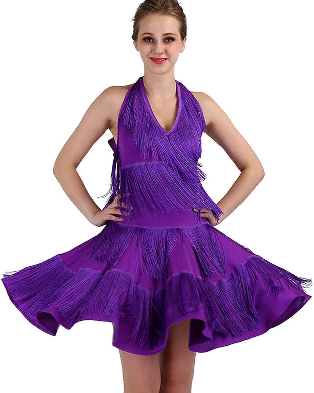 Rongg Quaste Lateinischer Tanz Trainingsrcke Performance Kostüm V-Ausschnitt Halter Frauen lateinisches Tanz-Kleid