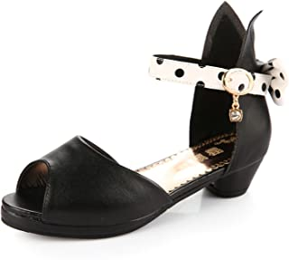 Peep-Toe Girls Sandals Kids Shoes Genuine Leather Bowtie Low Heel Shoes Girls Princess Children Shoes Sandalias
