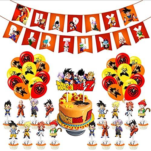 Ballons de Décoration de Fête de Dragon Ball,Dragon Ball Décoration de Fête d'anniversaire Goku Décoration Cartes de gâteau Soirée à Thème Bannière de Joyeux Anniversaire de Ballon en Aluminium