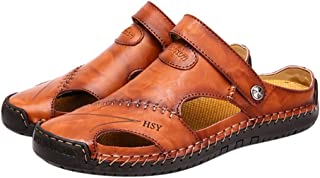 ludonie Summer Men Faux Leather Breathable Flat Heel Shoes Anti-slip Outdoor Sandals - Yellow Brown