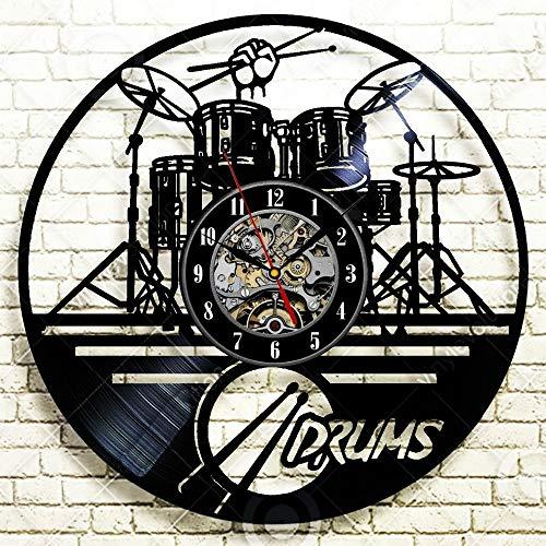 Juego de tambores de guitarra de 30 cm Reloj de pared Notas de instrumentos musicales Registro de vinilo Regalo Decoración para el hogar Registro de vinilo decorativo Reloj de pared Música Arte Regi