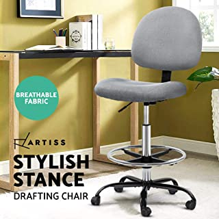 Artiss Office Chair Veer Drafting Stool Fabric Chairs Footrest Standing Desk Grey
