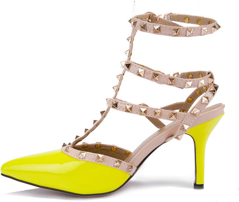 Baiscar Raiberm Femme shoes women Valentine 3 Straps Rivets shoes Women Pumps High Heels Ladies shoes