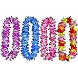 Yansanido 4pcs Hawaiian Leis Hula Hawaiian Thickened Dance Garland Artificial Flowers Neck Loop Flower Leis for Party Favor