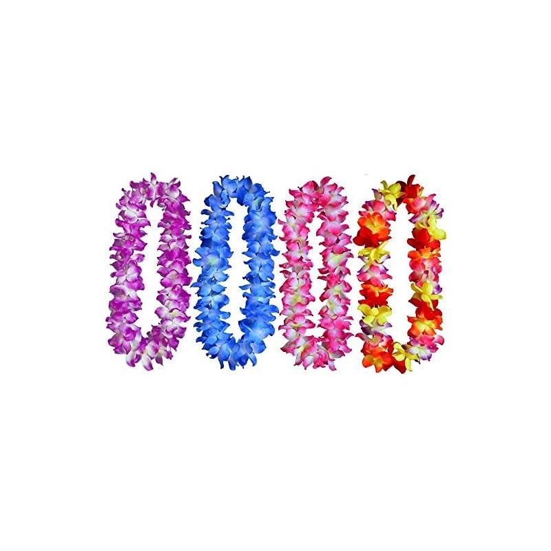 silk flower arrangements 4pcs thickened hawaiian leis garland silk artificial flowers for beach party favor (4pcs 4color)
