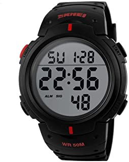 2f4056d611f3 Men's Digital Sports Watch LED Screen Large Face Military Watches and  Waterproof Casual Luminous Stopwatch Alarm