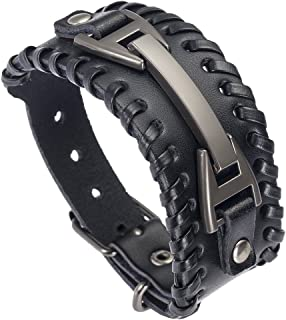Men Leather Bracelet Punk Braided Rope Alloy Bracelet Bangle Wristband