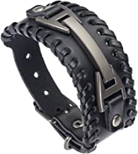 Hamoery Men Leather Bracelet Punk Braided Rope Alloy Bracelet Bangle Wristband