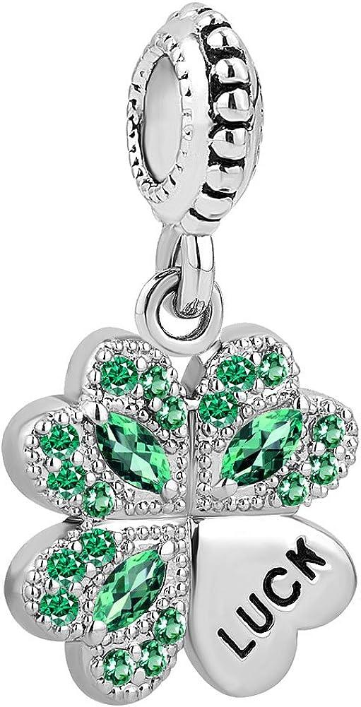 SexyMandala Lucky Four Leaf Clover Charm Green brithstone Beads for European Bracelets
