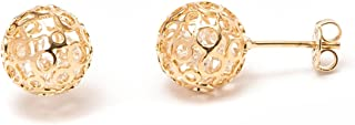 Gold & Crystal 10mm Caged Earrings