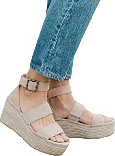 06d7f18c79 FISACE Womens Espadrille Strappy Platform Wedge Sandals Open Toe Ankle  Buckle Summer Dress Shoes