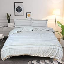 Lausonhouse Cotton Duvet Cover Set,100% Cotton Yarn Dyed Woven Pleat Stripe Bedding Set,3 Pieces (1 Duvet Cover with 2 pil...