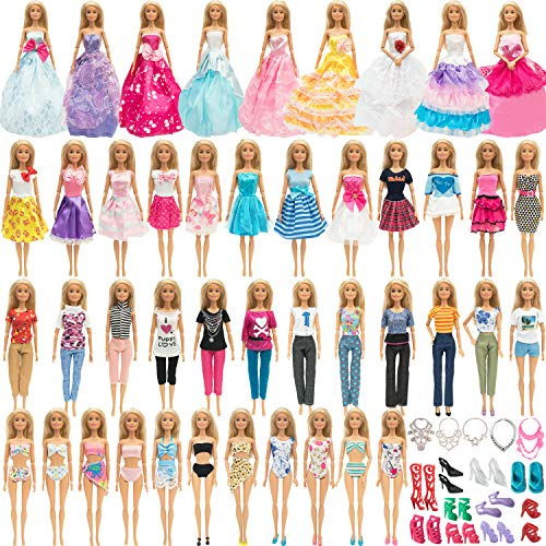 SOTOGO Doll Clothes and Accessories for 11.5 Inch Girl Doll Clothes Include 24 Sets Handmade Fashion Dresses/Wedding Dresses/ Pants Outfits/Swimsuits, 10 Pairs Shoes and 5 Pieces Necklace