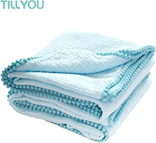 """TILLYOU 100% Soft Cotton Muslin Swaddle Blanket with Pom Pom, 44""""x44"""" Large - Fits Toddler Bed/Baby Crib/Newborn Stroller, Breathable Thermal Security Blanket for Receiving, Swaddling, Sleeping, Aqua"""