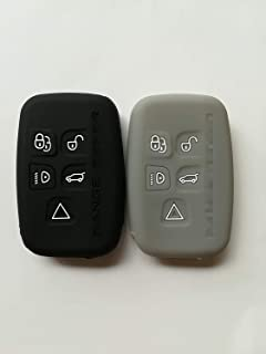 Qty(2) Silicone Protective Smart Remote Key Fob Skin Key Cover Holder Jacket Protector for Land Rover LR2 LR4 Discovery Freelander 2 Evoque 2017 Range Rover Sport