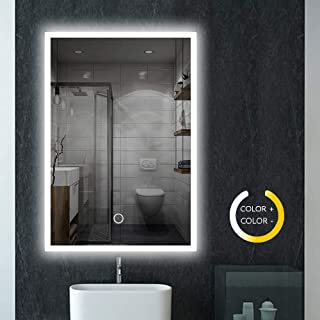 Peralng 32 X 24 Inch Led Lighted Bathroom Mirror   Wall Mounted Illuminated  Mirror Touch Button