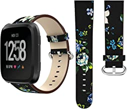 Peony Pattterned Leather Wristband for Fitbit Versa Band Replacement, FreeDeal Fitbit Bands
