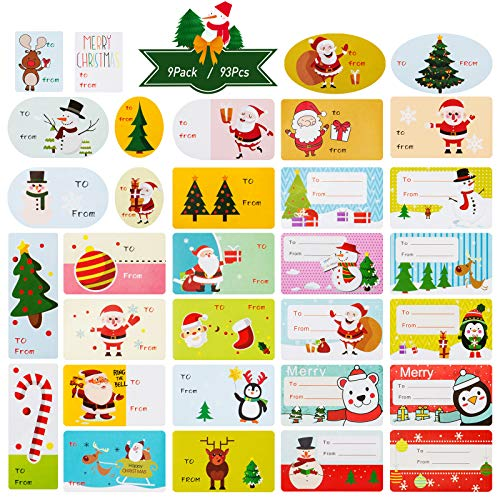 Kesote 9 Hojas de Pegatina de Navidad Etiquetas Navideñas Adhesivas para Regalos, Tarjetas de Felicitación, Scrapbooking, 9 Hojas de 3 Modelos