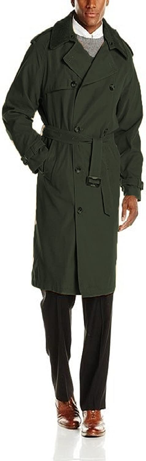 LONDON FOG mens Plymouth Double Breasted Belted Micro Twill Light Lined Trench Coat