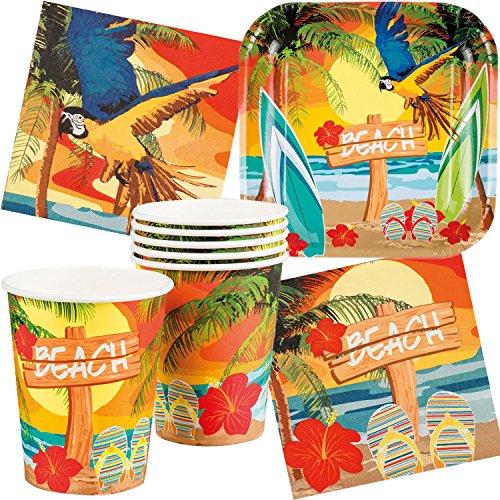 Neu: 61-tlg. Partyset * Strand & Sonne * mit Teller + Becher + Servietten + Deko | Hawaii Hibiskus Beach Ara Mottoparty Set Dekoration Party