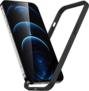 ESR Silicone Bumper Case Compatible with iPhone 12/12 Pro, Raised Edge Protection, MagSafe Compatible, Enhanced Heat Dissipation, Lightweight Protective Frame, Cloud Series, Black
