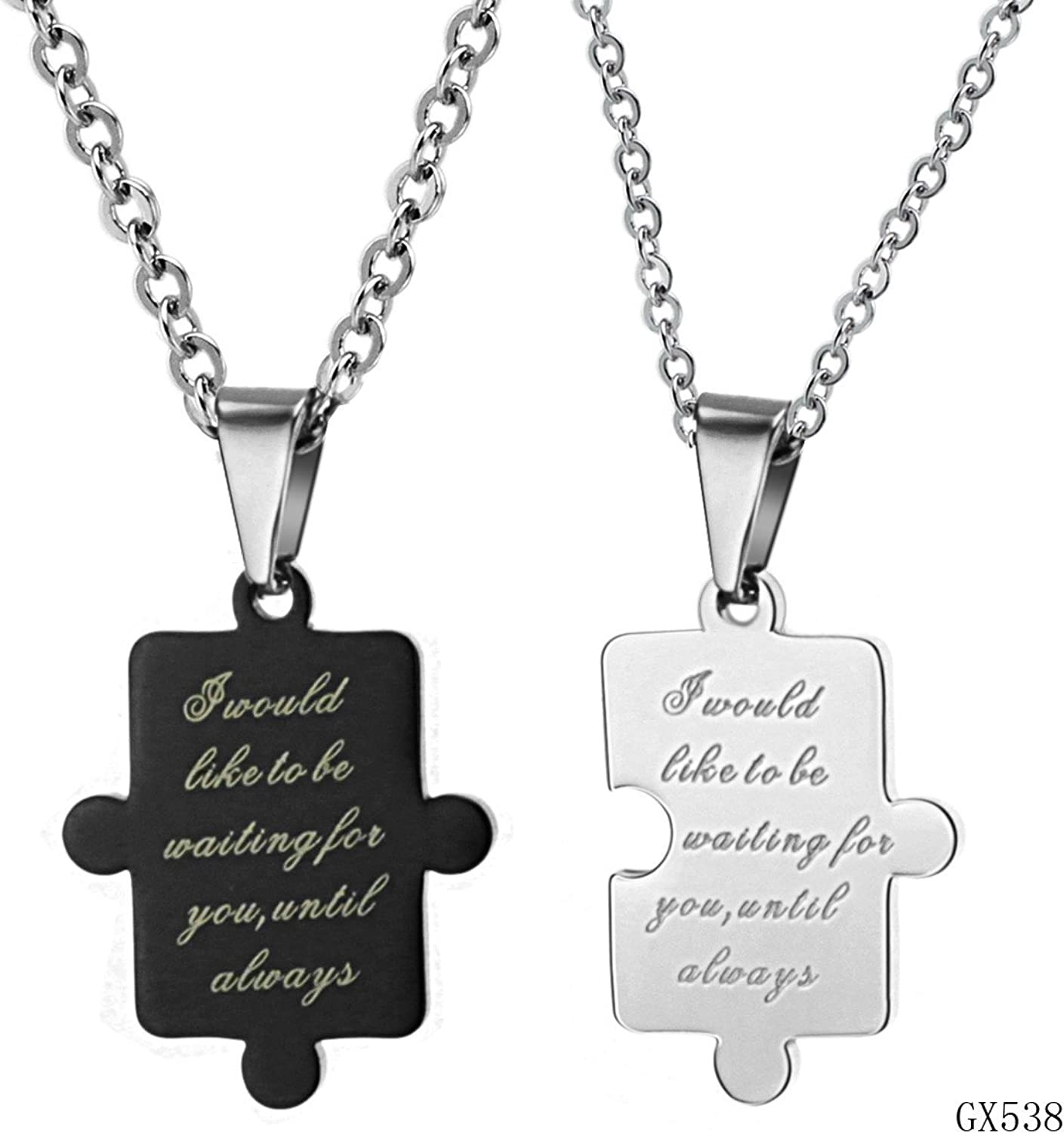 KDesign Black To White Pendant Stainless Steel 316L Necklace Found Of Couple Necklace gx538