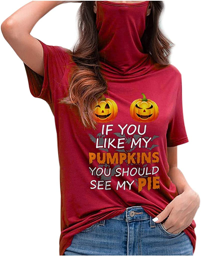 Huilaibazo Womens Halloween Short Sleeve T-Shirt with Ear Loops Mouth Protection Covering High Collar Blouse