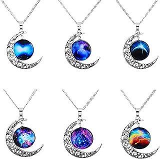 b908408e81022 MJARTORIA Femme Bijoux Ensemble Collier Chaines Amitie Pendentif Lune  Galaxy Cabochon Gravure Couleur Argent Lot de