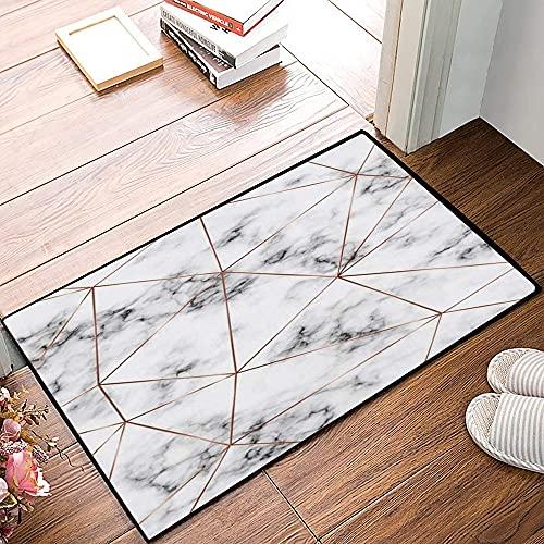 QDYLM Alfombra de baño de Microfibra esponjosa,Mármol geométrico Triángulos de Oro Rosa Fecha Diamante de Cobre Moderno Bronce Vacaciones alfombras de Ducha de Suave Absorbente de Agua, 50x80 cm