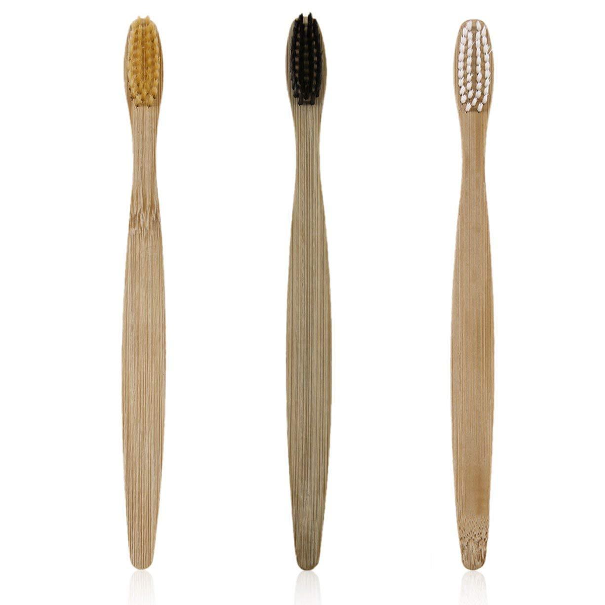 所有権ラボ遠足3本/セット環境に優しい木製の歯ブラシ竹の歯ブラシ柔らかい竹繊維の木製のハンドル低炭素環境に優しい - ブラック/ホワイト/イエロー