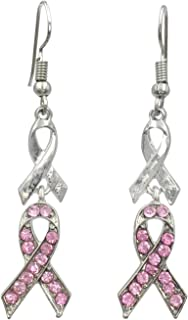 Pink Ribbon Rhinestones Breast Cancer Awareness Double Drop Dangle Earrings