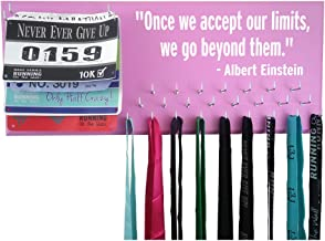 Running On The Wall - Race Bib and Medal Display Rack- Wall Mounted Sports Medal Holder and Hanger for 5K, 10K and Marathons Runners - Once WE Accept Our Limits, WE GO Beyond Them - Albert Einstein