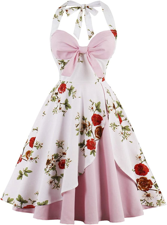 CharMma Women's Vintage Halter Rockabilly Swing Floral Print Tea Cocktail Dress