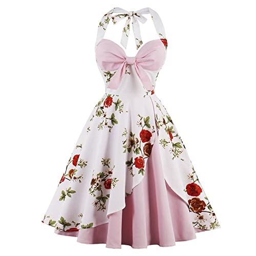 728a6d5fc126 CharMma Women s Vintage Halter Rockabilly Swing Floral Print Tea Cocktail  Dress