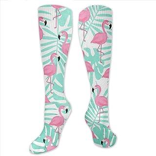 xiongjiansd, Calcetines de flamingo rosa de algodón para la oficina, unisex, con frase atlética, cómodos, transpirables, para la pantorrilla, calcetines de compresión de Navidad