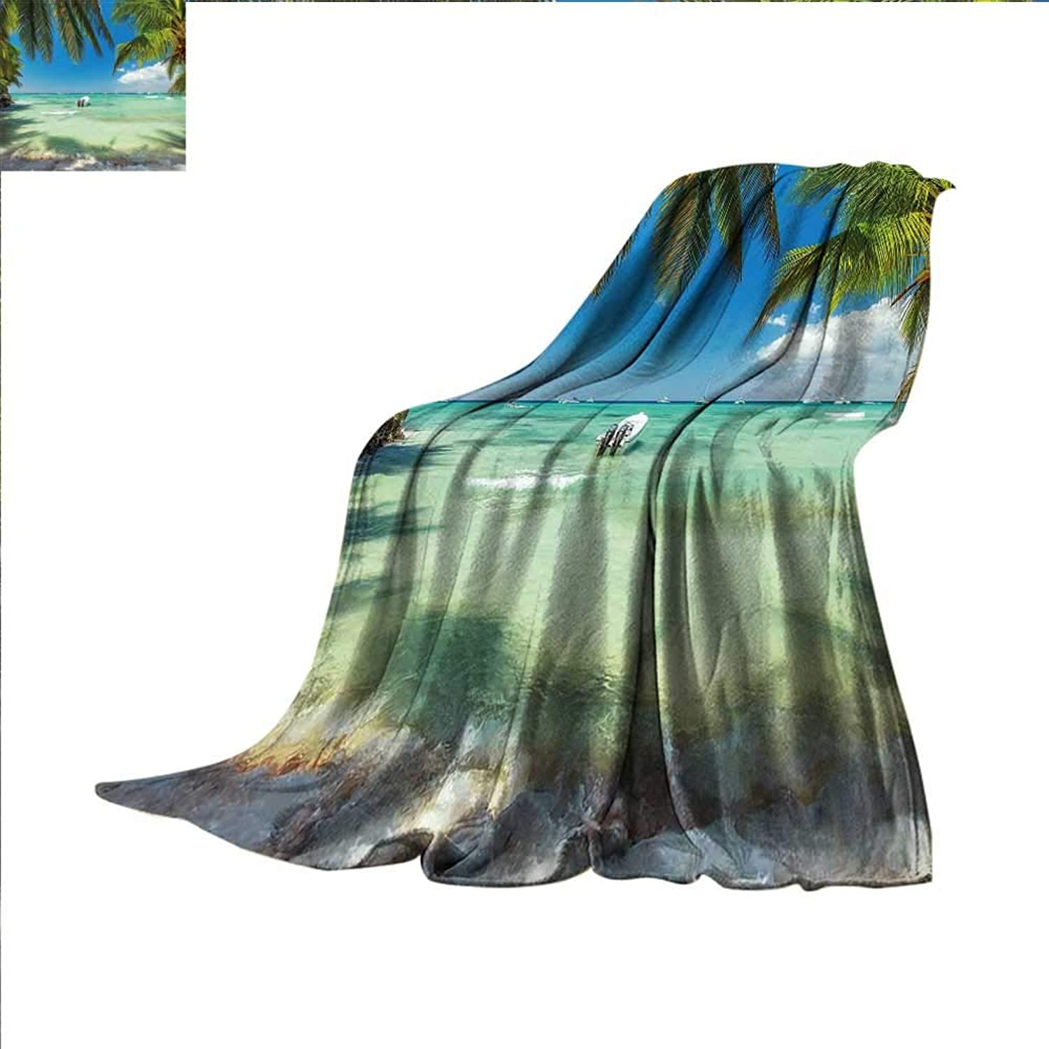 Smallbeefly Tropical Digital Printing Blanket Surreal Sea Surrounded by Palm Tree Leaves Scenic Nature Summertime Summer Quilt Comforter 60 x50  Fern Green Turquoise bluee