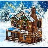 WSCF Casa de Navidad Regalo simulación de luz y Sonido Chimenea de Vapor ensamblaje navideño para niños Juguetes de Bloques de construcción