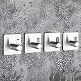 MAKA Paquete de 4 Autoadhesivo Ganchos de toalla Bata de abrigo Gancho Acero inoxidable Ganchos adhesivos 3M Colgante de pared Colgante de llaves para cuarto baño Oficina cocina Acabado cepillado
