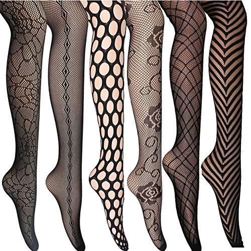 ANDIBEIQI 6 Paar Damen Strumpfhose Netzstrumpfhosen Feinstrumpfhosen Nahtlos Netzs Leggings Muster Elastisch Schwarz Tragekomfort